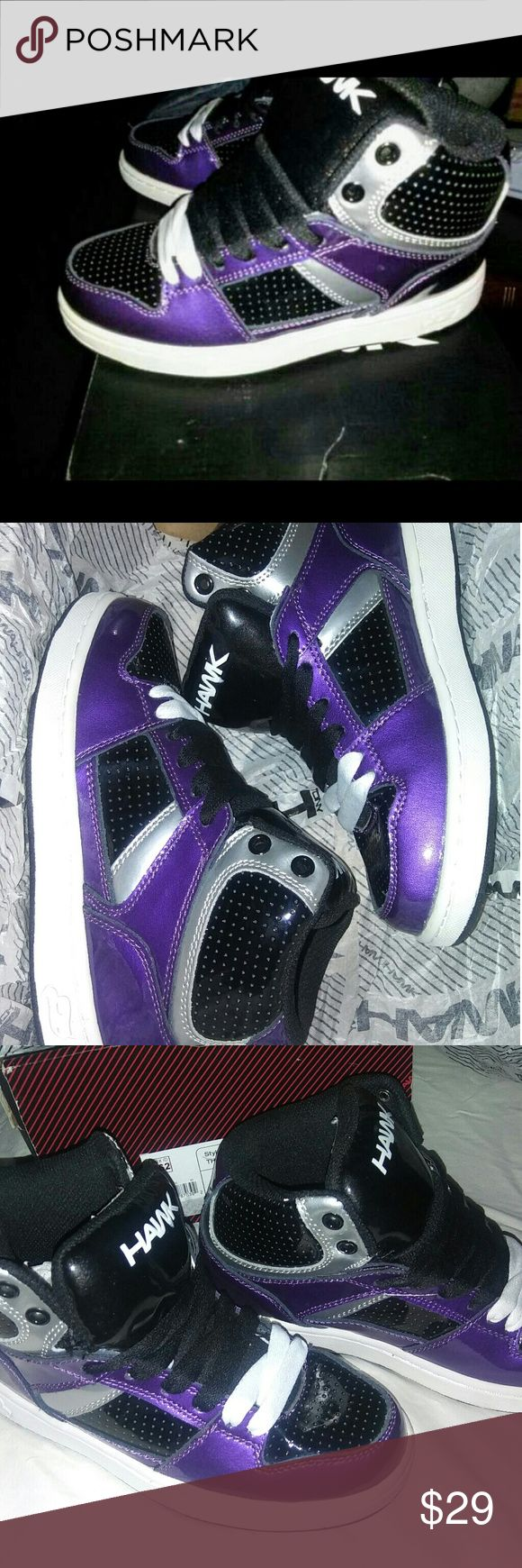NIB Boys Size 2 TONY HAWK hightops Brand new in box Tony Hawk brand hightops. Size 2 boys. Purple, black and silver. Perfect cond. Never worn. Retails for $60 tony hawk Shoes Sneakers