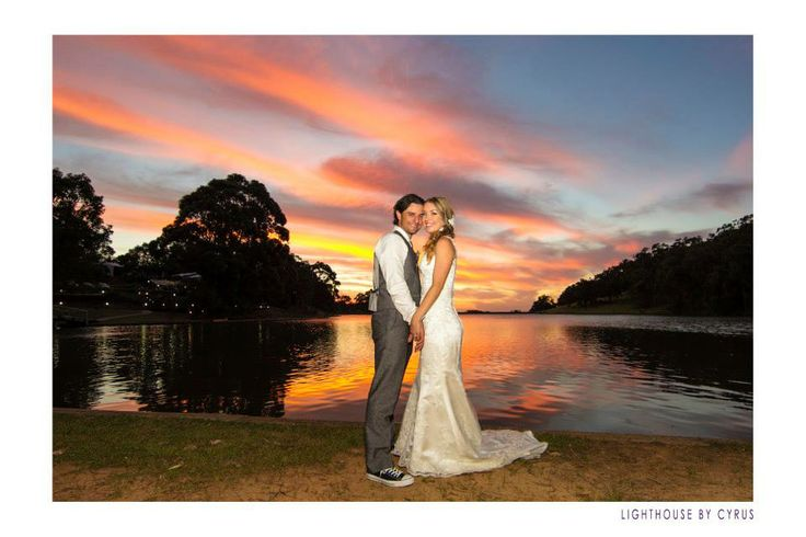 Gorgeous sunset photo of Jacqueline and Peter at Evedon Park Bush Resort, in the Ferguson Valley. Photo by Lighthouse Photography by Cyrus