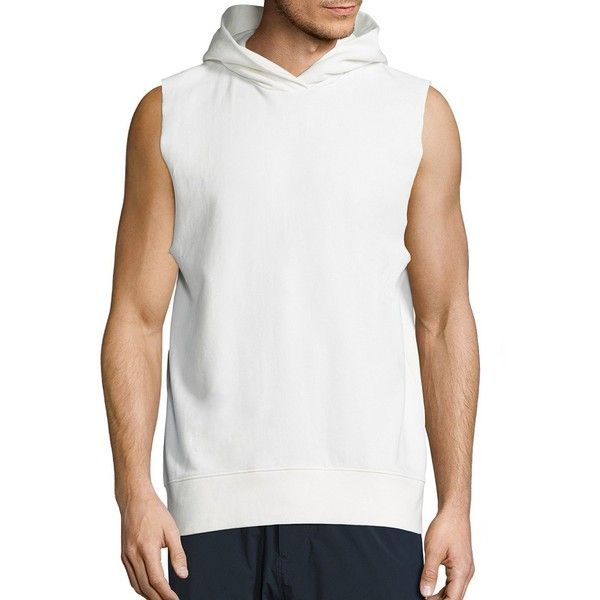 Vince Sleeveless Hoodie ($146) ❤ liked on Polyvore featuring men's fashion, men's clothing, men's hoodies, mens cotton hoodies, mens hoodie, mens sweatshirts and hoodies, mens hoodies and mens cotton hoodie