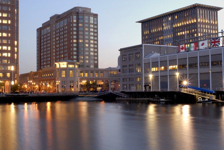 Seaport World Trade Center:    The Seaport World Trad Center and the Seaport Hotel are situated on the Boston Waterfront, also called the Commonwealth Pier, in the Seaport District. The hotel publicly opened in 1998 and was improved for renovations which was completed in 2009.