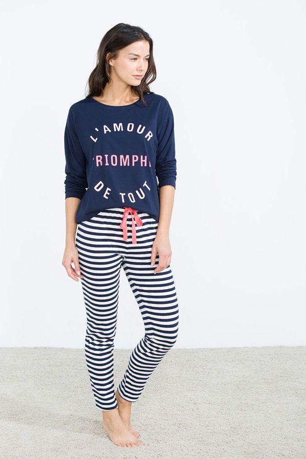 Pijama largo de algodón 'L'Amour', estampado, hi-res