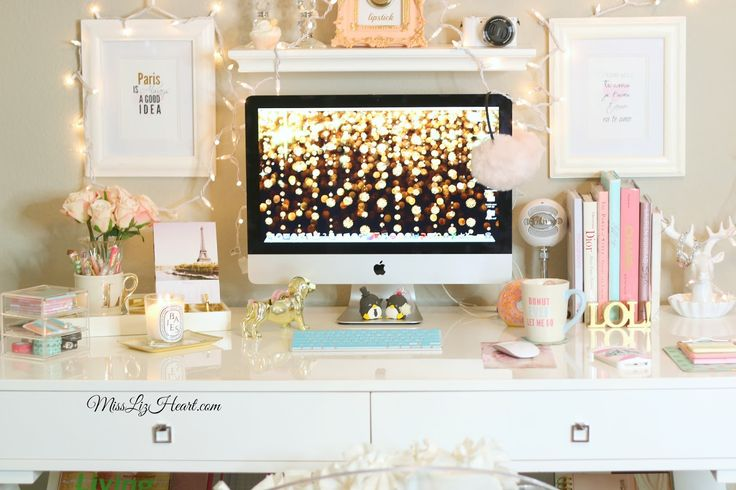 Glam Desk with pops of pink and turquoise