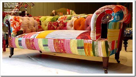 Sillones sillas y sof s resucitados con telas patchwork for Canape patchwork