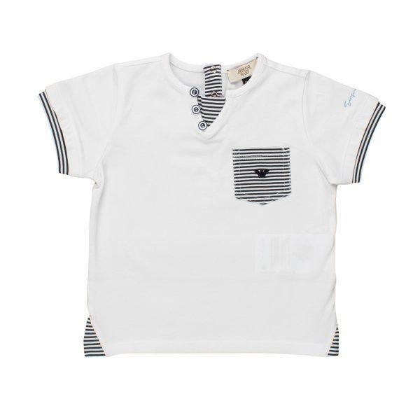 ARMANI JUNIOR - T-SHIRT BIANCA BIMBO BEBÉ Raffinata maglietta bianca con dettagli a righe firmata Armani Junior della nuova Collezione Primavera Estate 18 - Linea di abbigliamento Bambino e Neonato. #ArmaniJunior #armani #shopping #neoanto #madeinitaly #abbigliamento #moda #venditaonline #shoponline