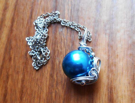 FF7 Necklace Blue Materia necklace final fantasy by KingsfieldInn