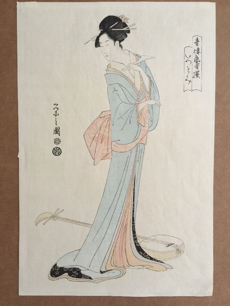 Genuine woodblock print by Hosoda Eishi. Originally made in Edo era, this is a modern reproduction made in Taisho era. | eBay!