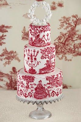 Cake entirely hand painted with edible ink with a design inspired by toile de Jouy of the eighteenth century, with a laurel wreath as a topper made of sugar. Toile de Jouy fabrics were born in France in 1760 created by Cahristophe-Philippe Oberkampf, in a town near Versailles called Jouy-en Josas