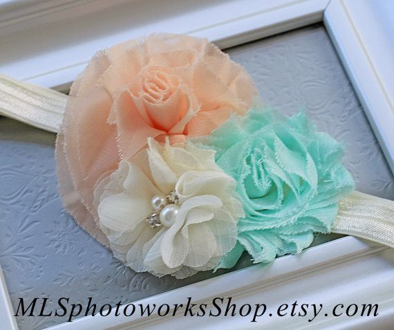 Peach, Mint Green & Ivory Wedding Flower Headband - Soft Chiffon Baby Headbands - Mint and Peach Hair Bow for Wedding Flower Girls on Etsy, $7.00