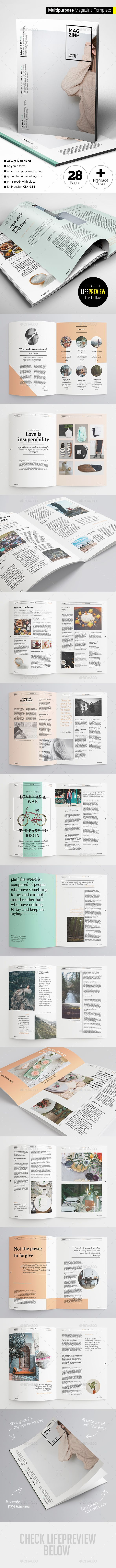 Multipurpose Magazine 28 Pages Template InDesign INDD #design Download: http://graphicriver.net/item/multipurpose-magazine/13107062?ref=ksioks
