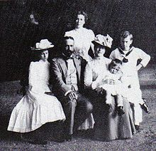 Princess Victoria of Hesse and by Rhine, Prince Louis of Battenberg and their four children Princess Alice, Princess Louise, Prince George and Prince Louis.