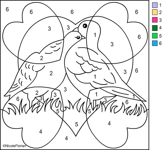 Nicole's Free Coloring Pages: COLOR BY NUMBER * VALENTINES