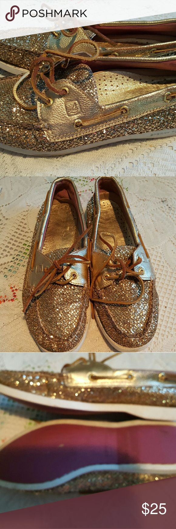 Sperrys gold sparkly shoes sz 8 loafers In great used condition Sperry Shoes Flats & Loafers