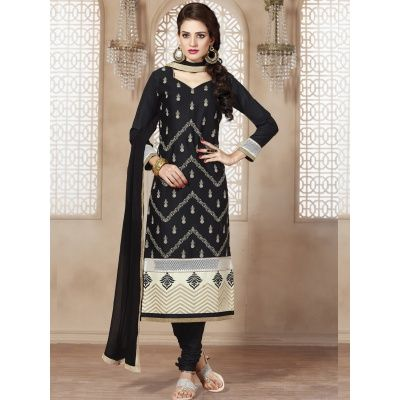 Appealing Black Cotton Straight Cut Suit Comes With Matching Color Cotton Bottom And Matching Color Nazneen Dupatta. It Contained The Embroidery Work. The Unstitched Suit Which can be customized up to bust Size 42