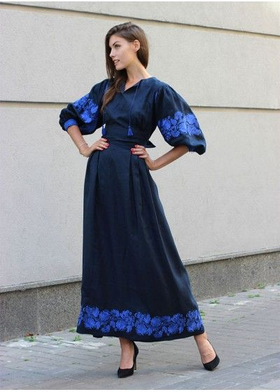 Темно-синее платье с вышивкой в Петриковском стиле ПЛ-770349