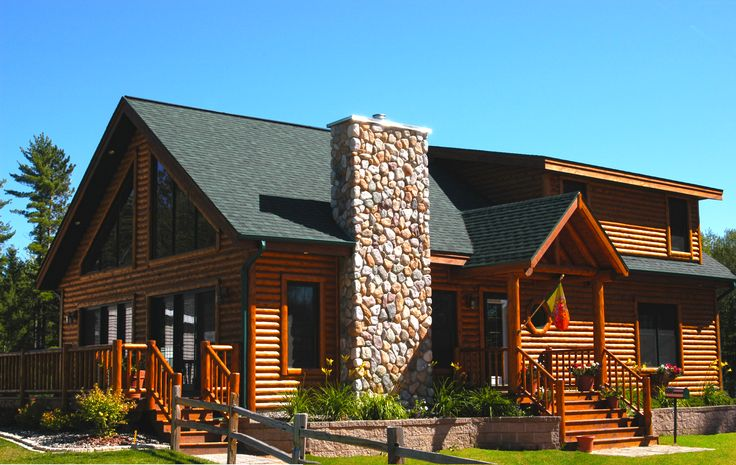 34 best hybrid log by dickinson homes images on pinterest for Log homes with stone