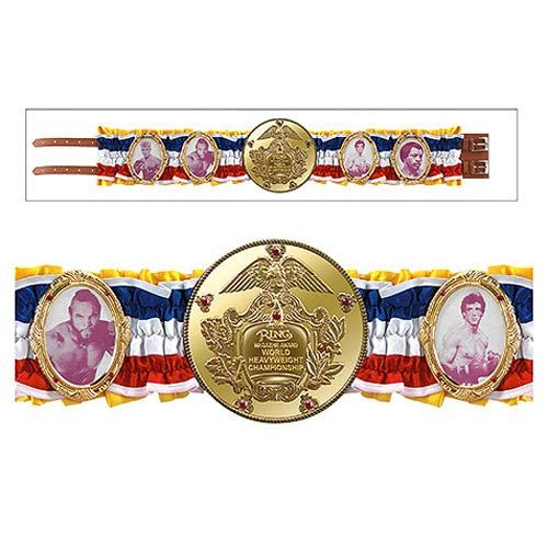 Replica Rocky World Champion Belt made from heavyweight cast metal with genuine leather, a gold-plated finish and ruffled satin! The 4 metal picture frames feature images of the various champions in Rocky movie history including Clubber Lang, Apollo Creed, Ivan Drago, and, of course, Rocky Balboa. Measures 43-inches long and weighs 2 1/2 pounds. Limited edition of 1,976 pieces!