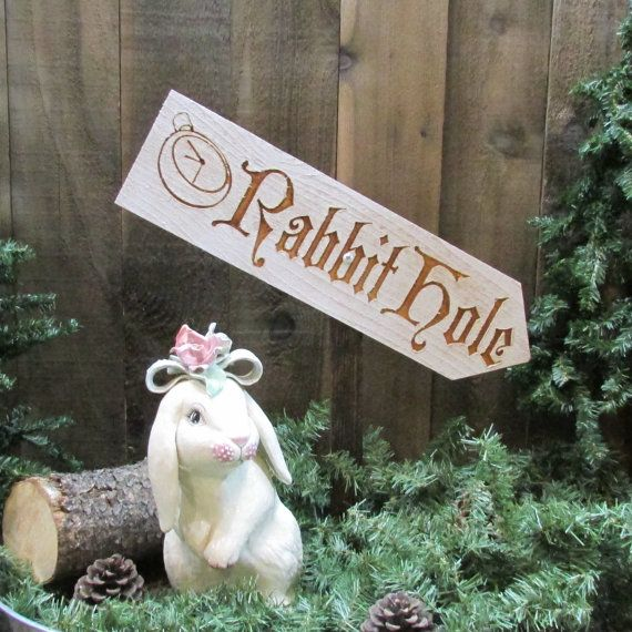 Rabbit Hole Lawn Ornament Sign - Alice in Wonderland Easter Bunny Spring Picnic Family Ostara - Decoration Cedar Wood Holiday Decor