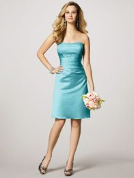Style 7027S Satin, Crystal Beading Strapless Lace-up Back Also available Floor Length - Style 7027  Sizes: 0 to 30W