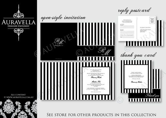 PDF Printable wedding invitation, reply card and thank you card. DIY. Simple stripes black and white