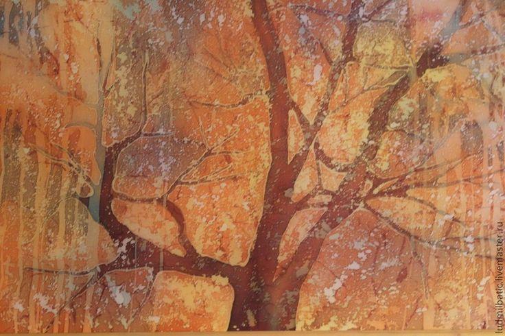 Купить Окно - оранжевый, Батик, батик картина, осень, осенний пейзаж, пейзаж, дерево, шелк