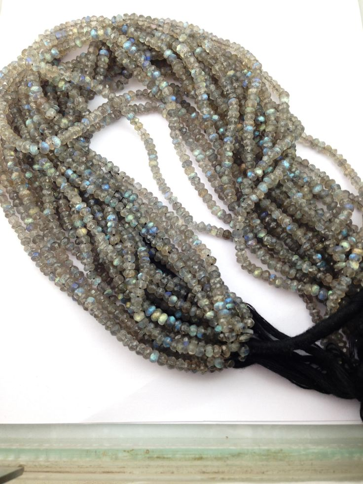 Labradorite Facetted Rondelle Beads Strand -Natural Blue Fire Labradorite String-Labrodrite Beads  India- Labradorite Beads Wholesale by TRUTHFINEJEWELLERS on Etsy