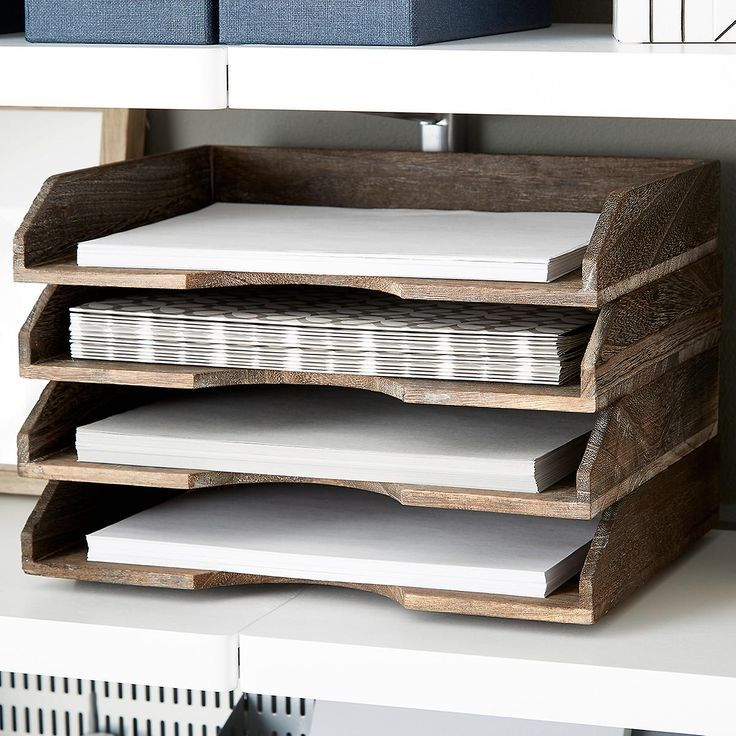 Feathergrain Wooden Stackable Letter Tray Wooden Desk Organizer Desk Organization Diy Desk Organizer Tray