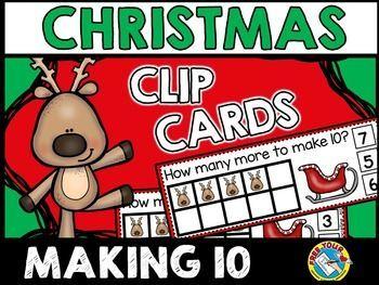 CHRISTMAS ACTIVITIES KINDERGARTEN (REINDEER MATH) MAKING TEN CLIP CARDS – ABC/clip it