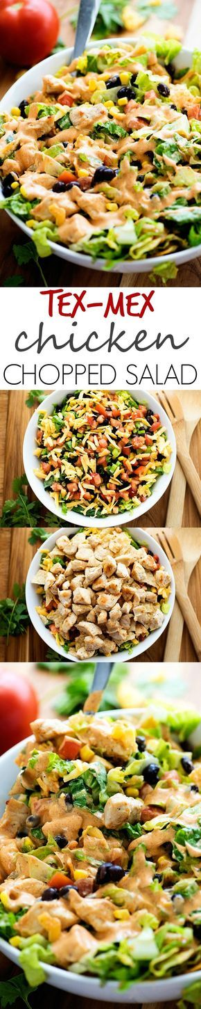 I make this for an easy dinner all the time. Chicken, black beans, corn and that dressing is the best!