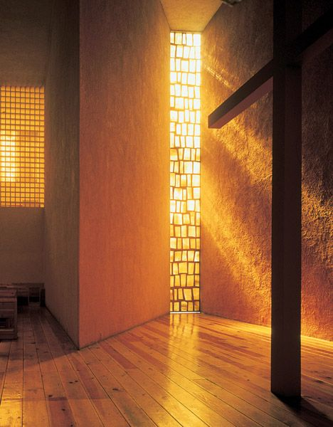 In Capuchinas Sacramentarias del Purismo Corazon de Maria, Barragan manipulates light to create a destinct experience of warmth and awe.  The select amount of light feels almost cellar-like with the heavy stucco walls and warm wood floor.  This feeling is pushed to create an inviting space for worship.