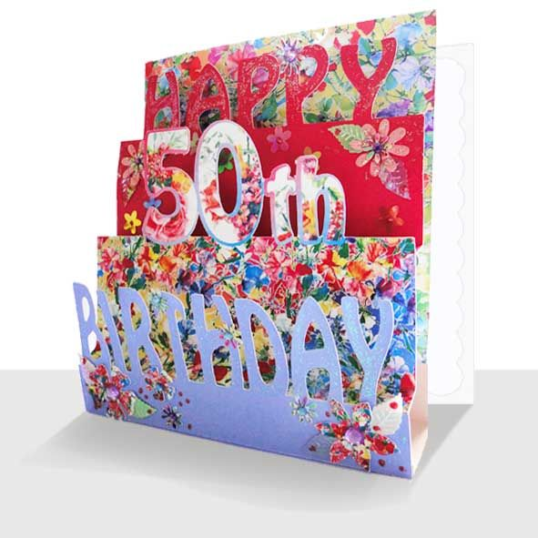 50th Birthday Card 3D- Luxury Pop Up Handmade, Unique Greeting Cards Online, 3d Luxury Handmade Cards, Unusual Cute Birthday Cards and Quality Christmas Cards by Paradis Terrestre