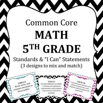 Common Core 5th Grade Math standards posters and I Can