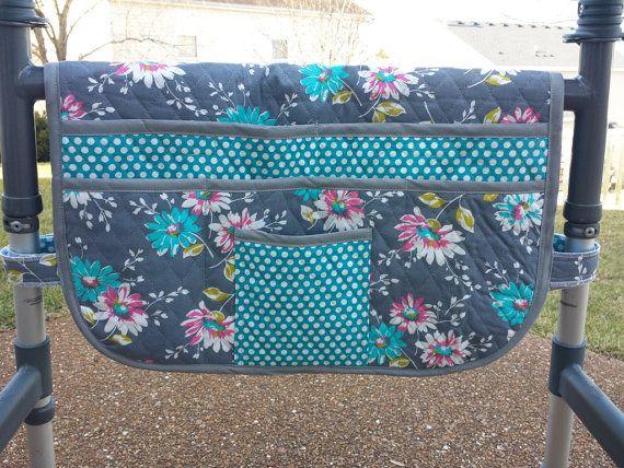 Quilted Spring Array, Walker Bag, Walker Bags, Walker Organizer, Walker Caddy, Walker Tote, Purse, Lots of Pockets, Cotton Walker Accessory