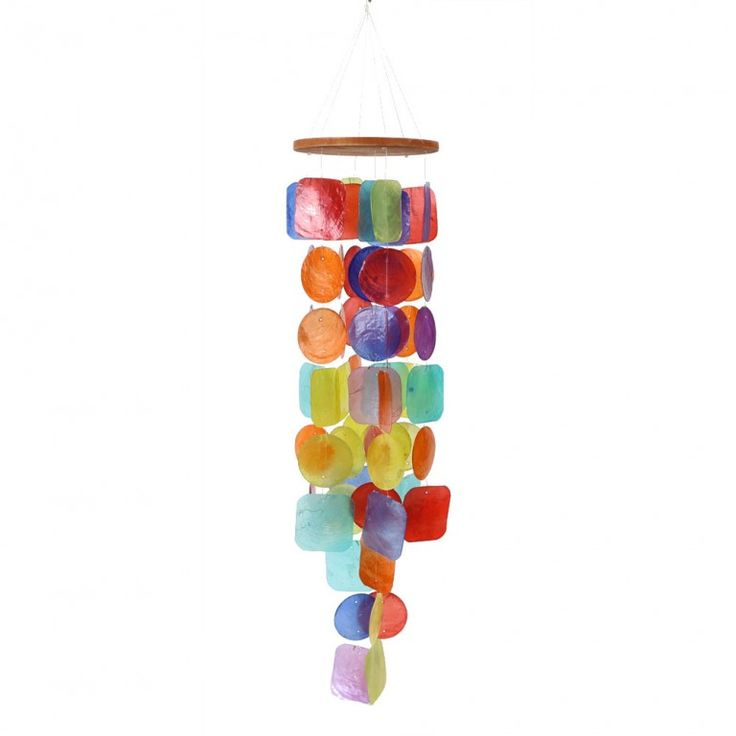 CAPIZ RAINBOW zvonkohra z lastur - duhová - fair trade oblečení z biobavlny, bambusu, konopí, modalu, tencelu a merino, přírodní kosmetika, bambucké máslo, fairtrade bytové doplňky