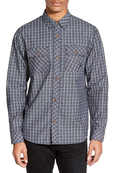 Kane & Unke Trim Fit Graph Check Chambray Shirt available at #Nordstrom