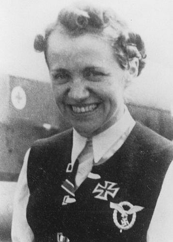 Hanna Reitsch (1912 – 1979) was a German record-setting aviator and test pilot and the only woman awarded the Iron Cross First Class and the Luftwaffe Pilot/Observer Badge in Gold with Diamonds during WW2.She was among the people who saw Hitler shortly before his suicide.Postwar, she had a second career as gliding instructor and record winner.Toward the end of her life, she worked in Ghana and became friendly with Kwame Nkrumah, the Ghanaian autocrat.She died of a heart attack.