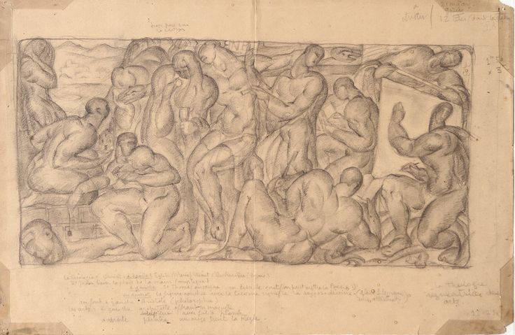 La Théologie régulatrice des arts — Works on Paper:Mexico:Drawings — JC Jean Charlot. La Théologie régulatrice des arts.   Dated: December 1921.  Pencil.  19 3⁄4″ wide × 13″ high.