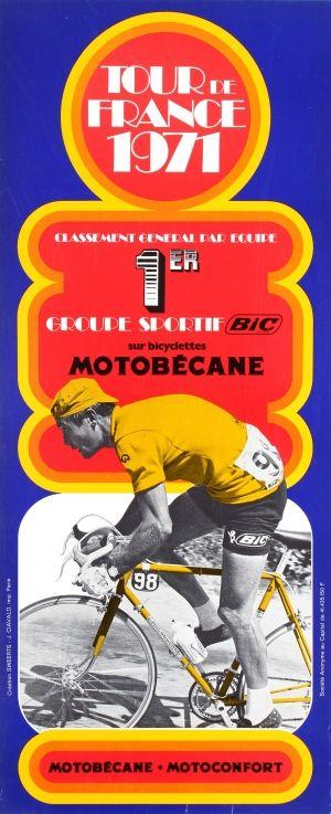 Tour de France 1971 Motobecane - original vintage poster listed on AntikBar.co.uk