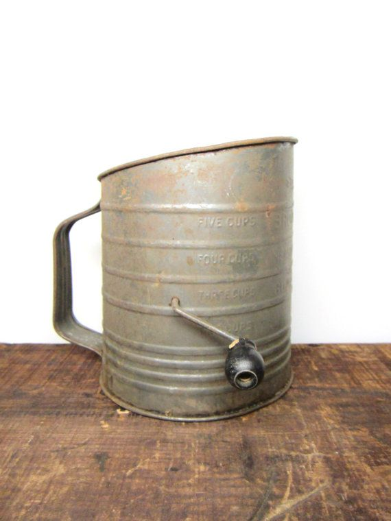 Rustic Old Metal Flour Sifter Country Kitchen Gadget for Decor. $10.00, via Etsy.