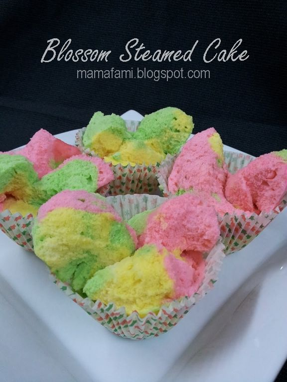 BLOSSOM STEAMED CAKE // 1 large egg, 115g sugar, 125g flour, 1/2 teaspoon double action baking powder, 1/2 teaspoon ovalette, 75ml evaporated milk, a few drops of rose essence, food coloring of your choice