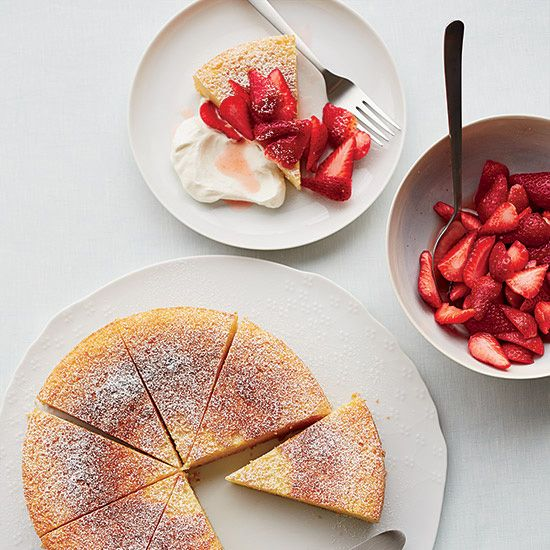 Strawberries, sprinkled with Prosecco and a little sugar, are a pretty accompaniment to Giada De Laurentiis's wonderful, moist orange-infused cake.Recipe: Ricotta-Orange Pound Cake with Prosecco Strawberries