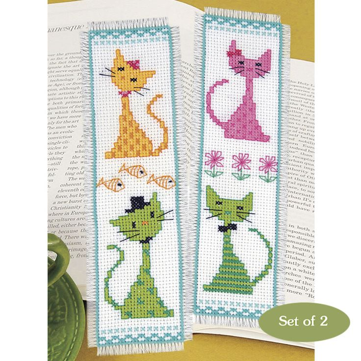 Colorful Cats Bookmarks - Cross Stitch, Needlepoint, Embroidery Kits – Tools and Supplies