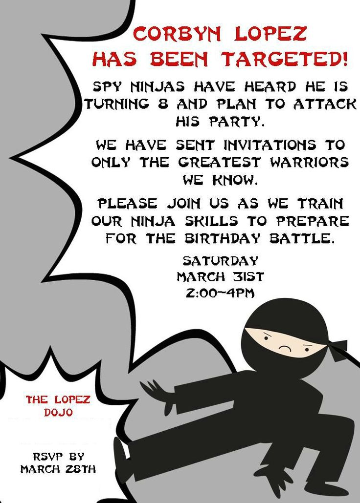 ninja+birthday+invites   Here was the invite I created on the computer and had printed at ...