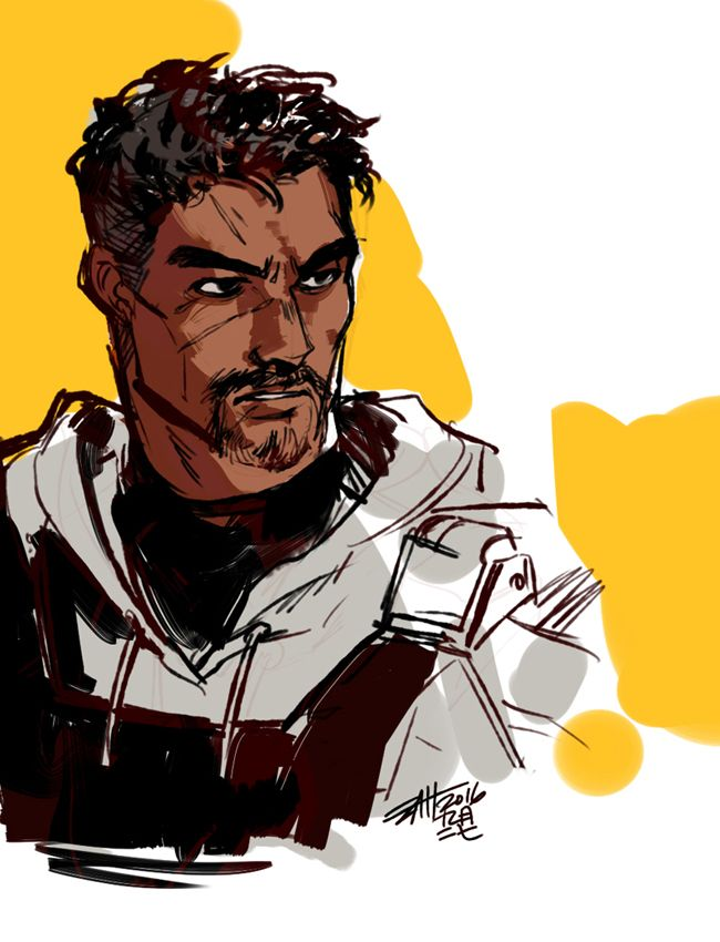 """""""What Are You Looking At"""" - Reaper (Default line) Soldier76 counter portrait here. I tripped and fell into Reaper76 Hell literally yesterday, and obviously the first step is to learn to draw Gabriel Reyes. :')"""