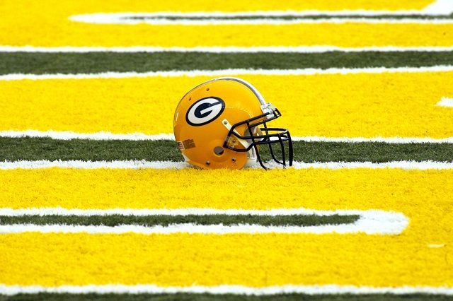 GREEN BAY, WI - MAY 5: A Green Bay Packers' helmet lies in the end zone at the first mini camp of the season at the Don Hutson Center on May 5, 2006 in Green Bay, Wisconsin.