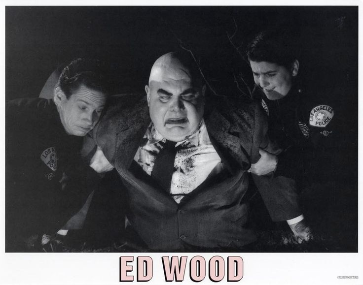 """George """"The Animal"""" Steele  /  Professional wrestler - Actor  (April 16, 1937 - February 16, 2017)  """"Ed Wood"""" lobby card, 1994.  L to R: Brent Hinkley, George """"The Animal"""" Steele, Max Casella."""