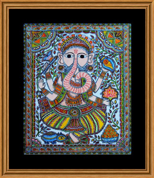 Lord Ganesh in Mithila / Madhubani Painting   Lord Ganesh in a sitting position, with symbolic Lotus (Kamal), Shankh, Goad in his hands and his favourite Ladoos and vehicle Chuha (Mouse) with him.  Base: Handmade Paper  Paint: Poster Colours, Mode : Handmade, Artist: Nupur Nishith