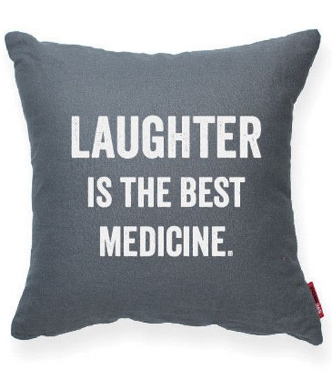 Laughter is the Best Medicine Gray Decorative Pillow