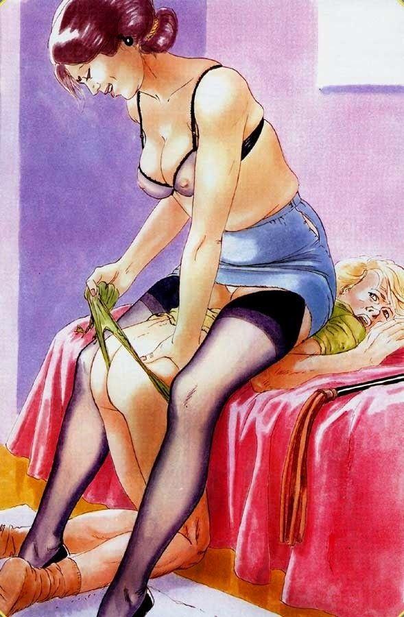 Dessin animé d'art fessée femdom
