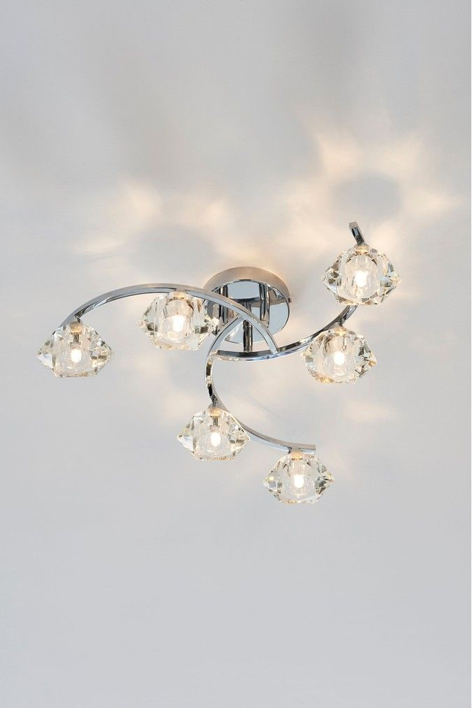 Next Siena 6 Light Flush Fitting Chrome Bedroom Ceiling Light Led Ceiling Light Fixtures 50th Glass