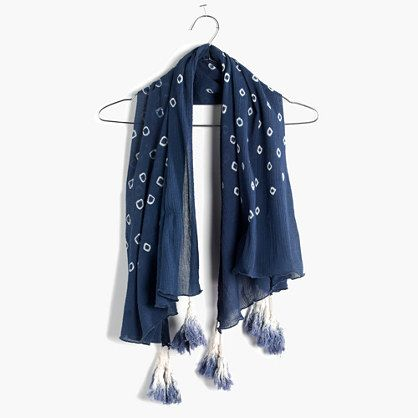 """Madewell - Shibori Tassel Scarf...•A soft crinkled cotton scarf with a pattern of hand-dyed, hand-tied shibori tie-dye, finished with handmade dip-dyed tassels at each corner. Cotton (Hand wash) $30.USD  38 3/5""""L x 38 3/5""""W."""